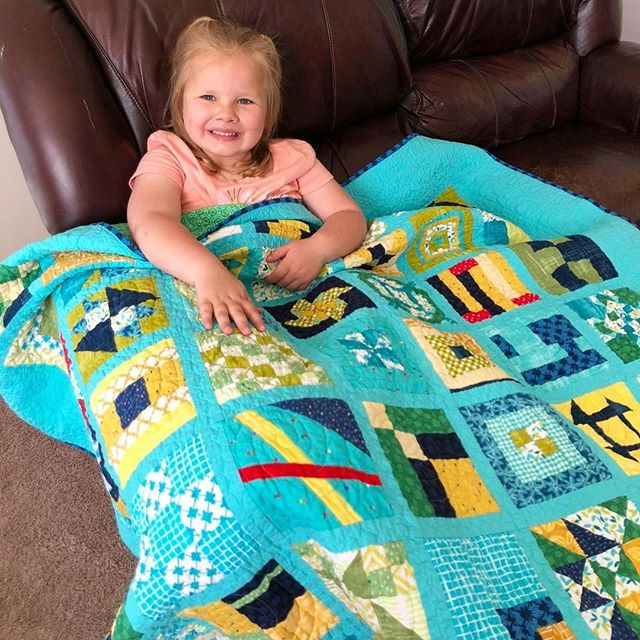 "We had the opportunity to send Carly a quilt early in 2018, and I couldn't resist sharing this update from her mama Kacey: ""In November 2018, we celebrated one year off treatment! Carly has been growing and thriving in this past year! She is loving being a Pre-K student, and we got a new puppy! Carly loves to swim, play with baby dolls, shop and be on the go.. all the time! We go to the hospital every couple months for a check up and we pray that cancer stays away forever."" 💛"