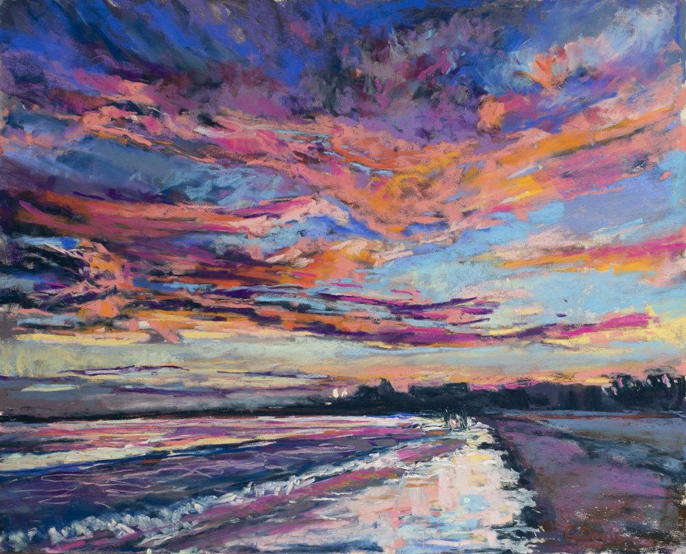 Pine Point Sunset , pastel on UART