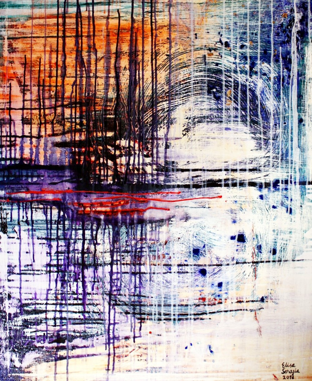 Heijastuksesi on aamun rusko, Akryyli kankaalle, 81 cm x 100 cm  Myyty / Sold