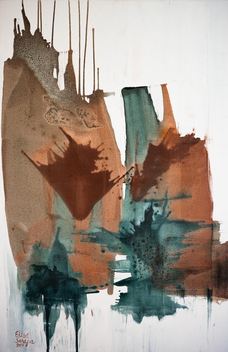 Lehtipöllö, Akryyli ja pigmentti kankaalle, 100 cm x 150 cm  Myyty/ Sold