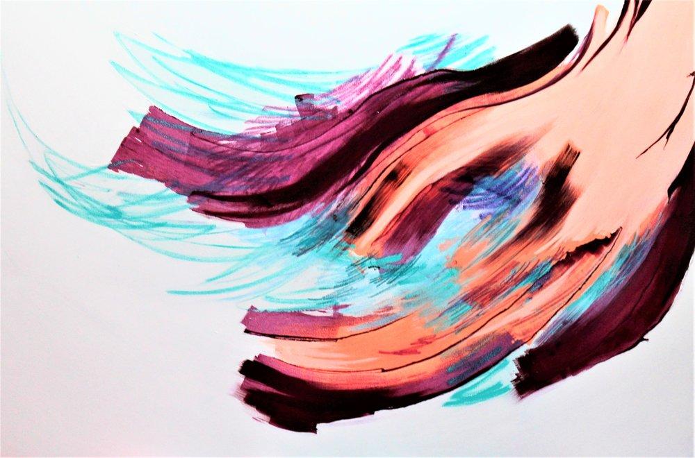 Gladiolus, Akryyli, pigmentti ja pastelli kankaalle, 100 cm x 150 cm  Myynnissä / For sale