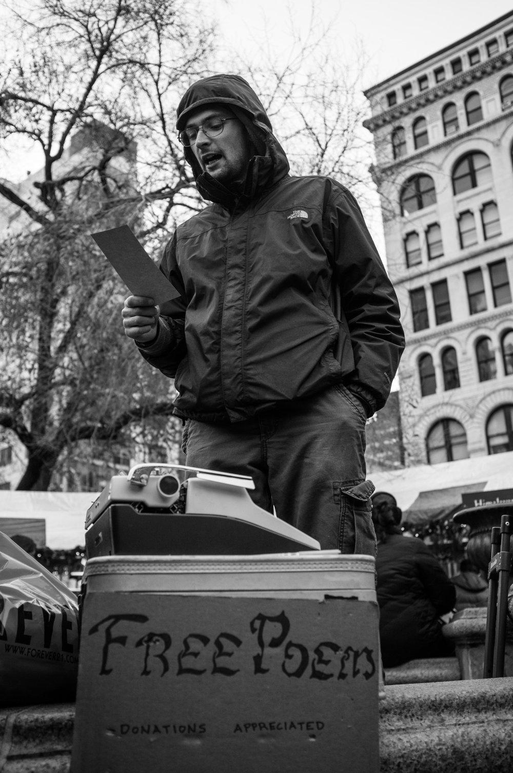 Free Poem   Union Square, NYC. Fuji X100