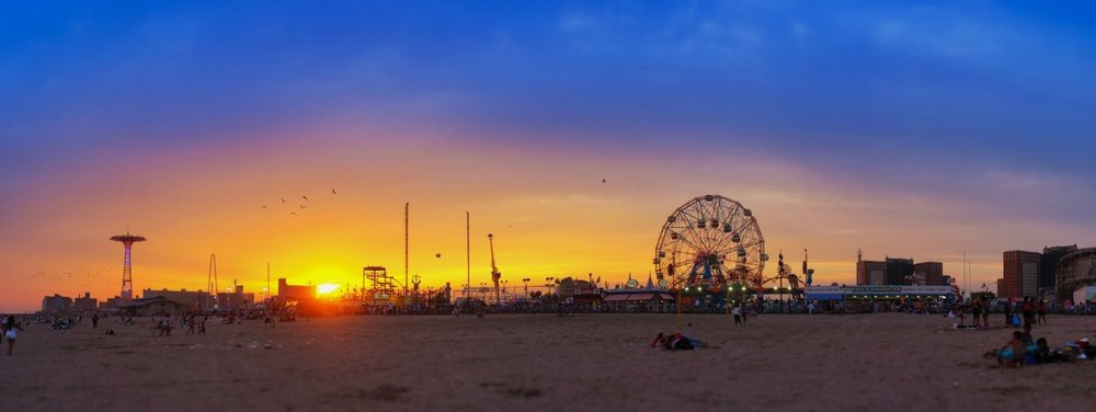 Coney Island Sunset, Fuji X100 Panorama