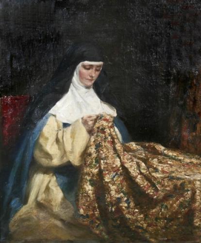 Talbot Hughes, A Nun Embroidering Fabric