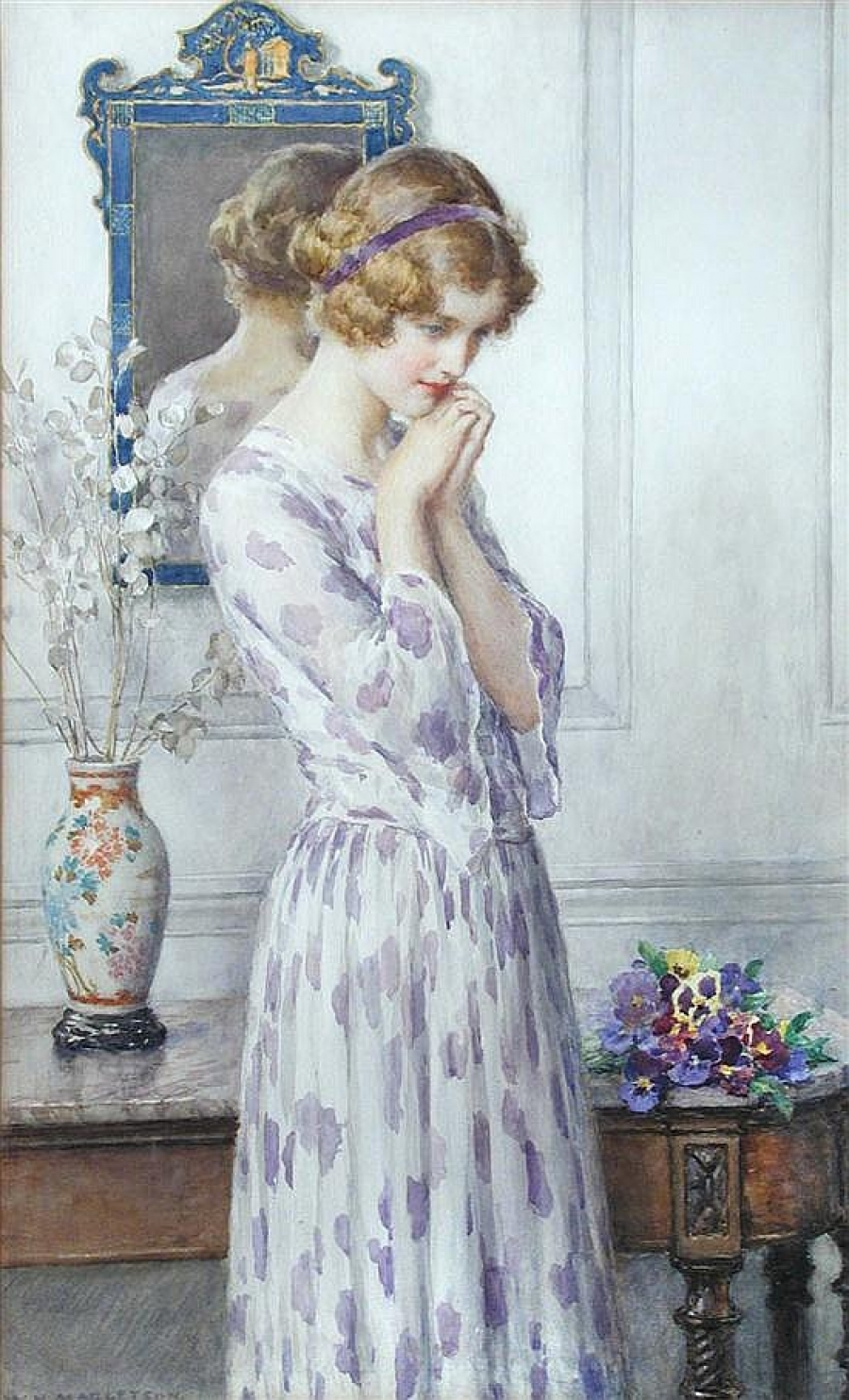 William Henry Margetson, Lady with Pansies