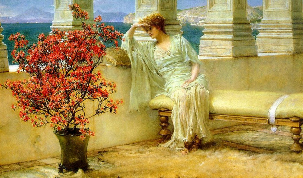 Sir Lawrence Alma-Tadema, Her Eyes Are With Her Thoughts, and They Are Far Away