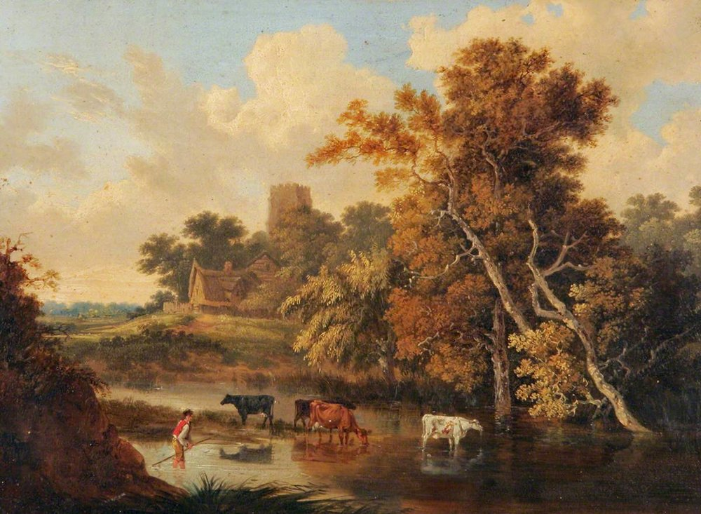 John Berney Ladbrooke, Cows in a Woodland Pool