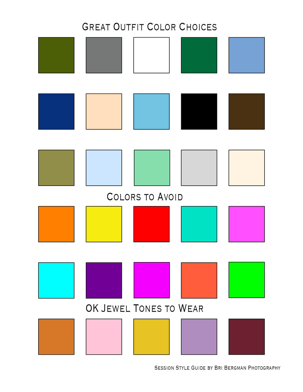 Outfit Color Guide for Photography Sessions by Bri Bergman Photography.jpg
