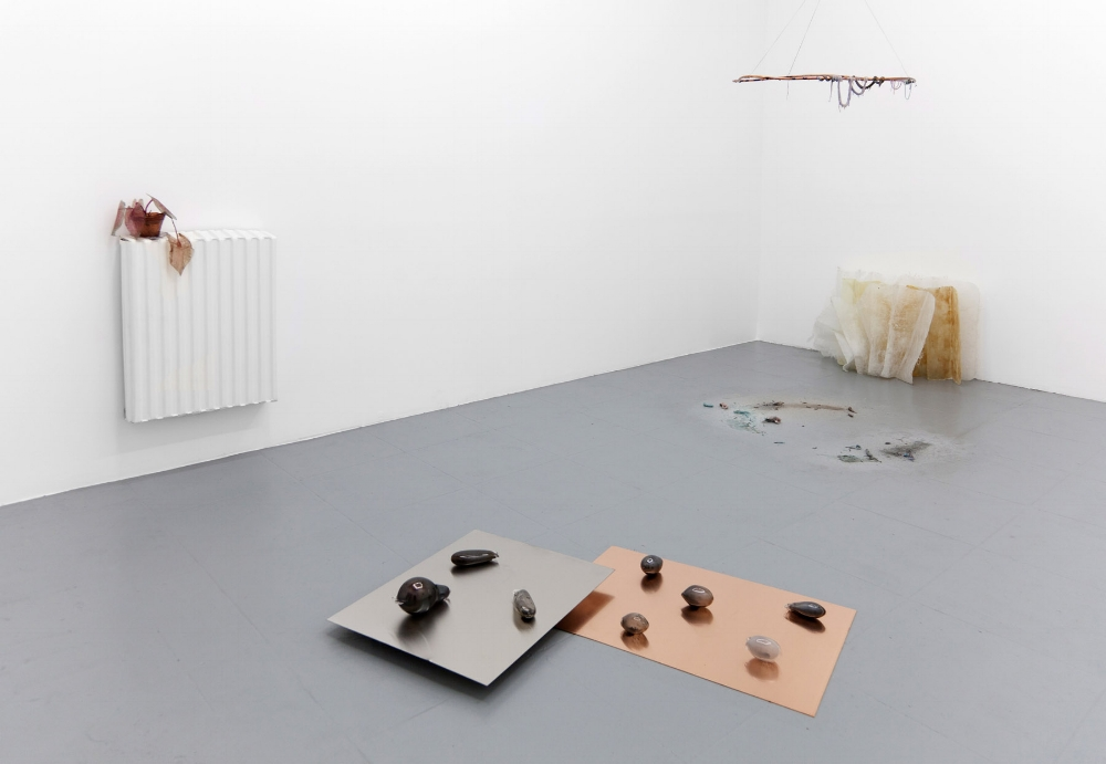 The panther calls on its prey   (Closed glass capsules, burnt blend of dry and oily Lavender, Myrrh, Jojoba, Rose, Orris Root, Frankincense, light pink coloring, copper plate, aluminum plate, aluminum bars, each plate 100 cm x 80cm), The Remains Of the Day, Michael Thibault Gallery, 2014