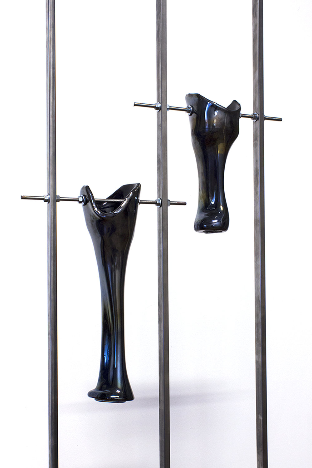LEGS I-II (blown glass, black pigment, welded steel), 2018