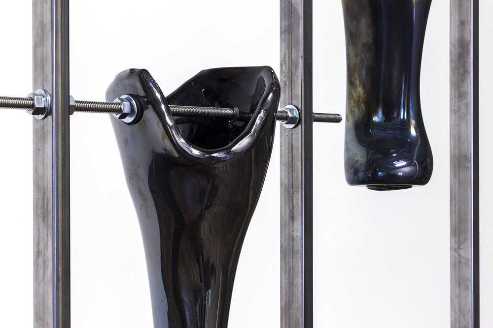 LEGS I-II (blown glass, black pigment, welded steel)