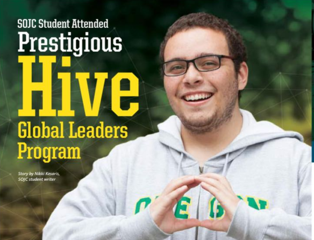 SOJC student to attend prestigious HIVE program at Harvard - As the first in his family to attend college, Iago Bojczuk never expected to leave his countryside town in Brazil to travel to the United States for higher education. Now a sophomore at the University of Oregon (UO) School of Journalism and Communication (SOJC) studying journalism, Bojczuk is well on his way to becoming an innovative young leader. This month, Bojczuk — who is also a full-tuition scholarship recipient in the Clarks Honor College — will be heading to the Harvard Innovation Lab in Boston, Massachusetts, to attend the Hive Global Leaders Program.