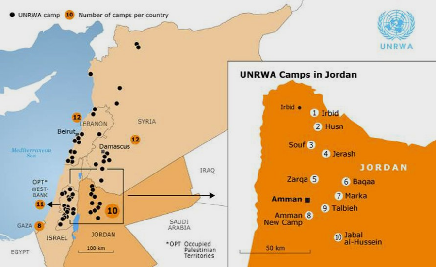 Figure 2 - Location of refugee camps in Jordan