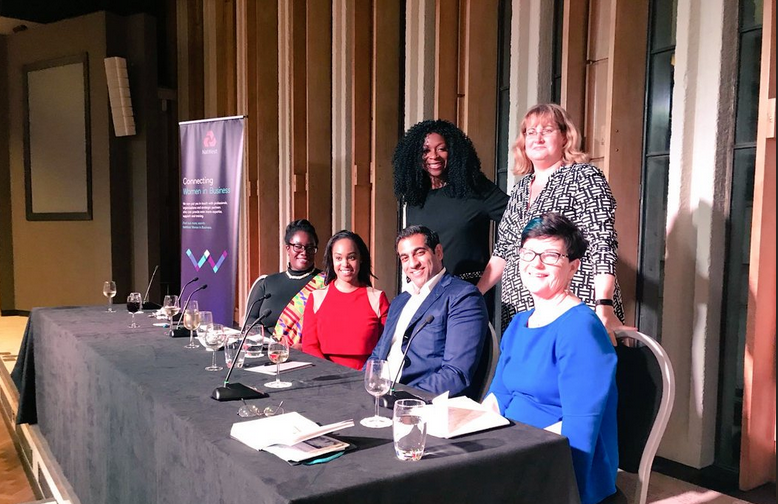 NATWEST BUSINESS BANKING/NATIONAL BLACK WOMENS NETWORK EVENT IN LONDON  PANELISTS (L-R): AKOSUA OSEI-LOUE | ALICYA SINCLAIR | DR BAYJU THAKER | BARONESS NEVILLE-ROLFE | SONIA BROWN