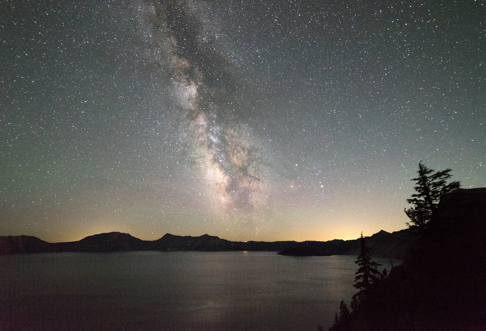 The famous Crater Lake Lodge is located right at the end of the Milky Way.  The Milky Way contains around 400 billion stars.