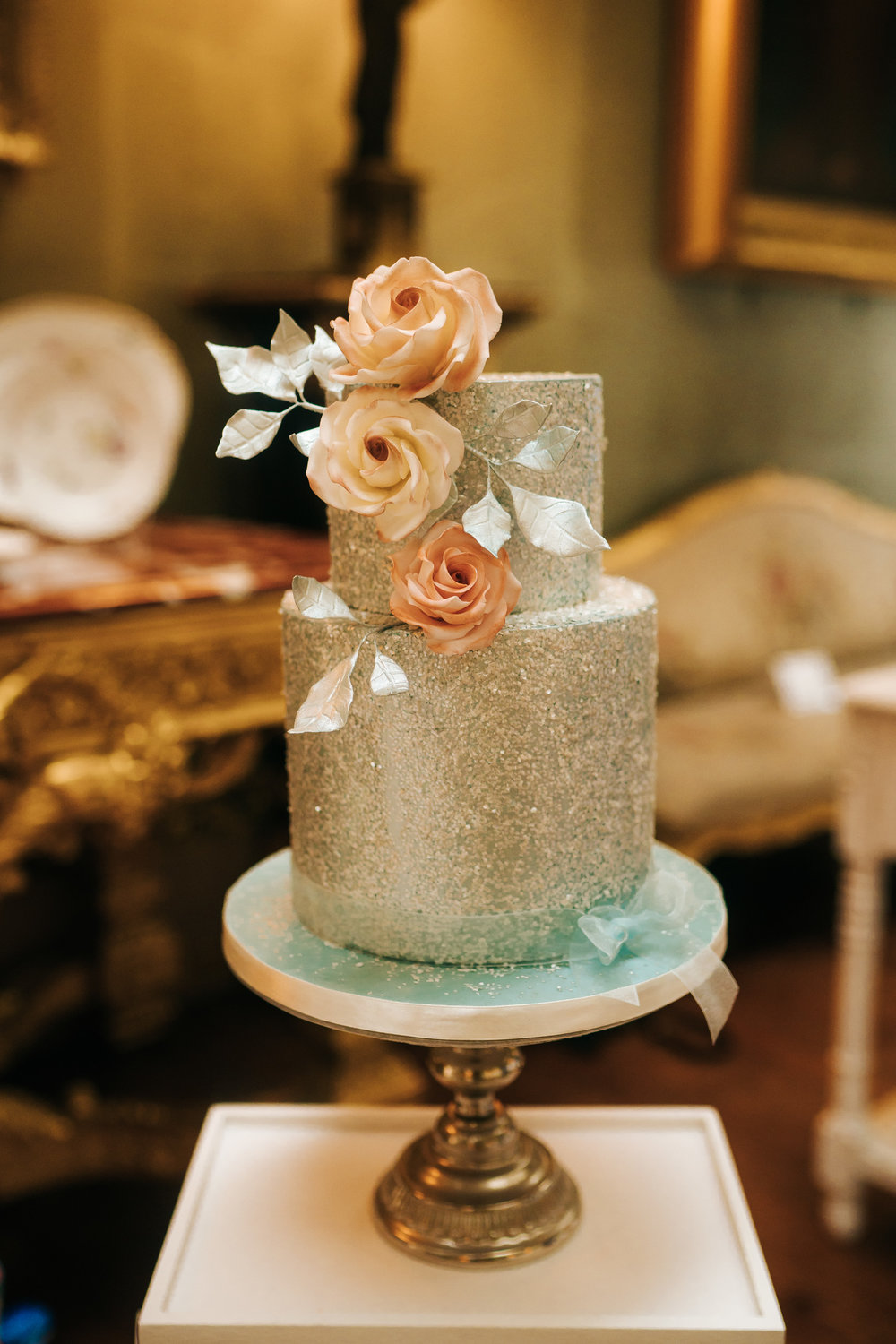 Sparkle blue two tier wedding cake