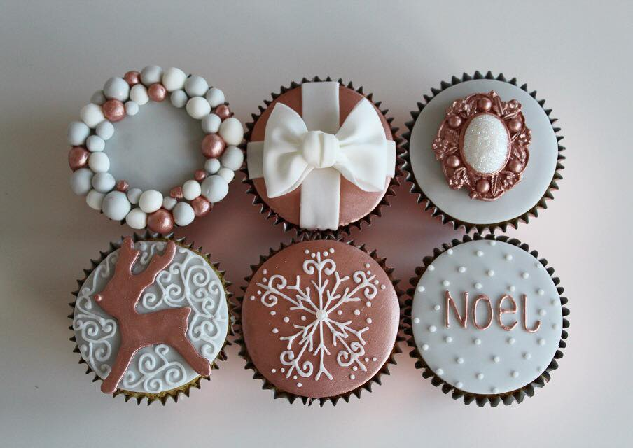 Grey, White & Rose Gold Cakes