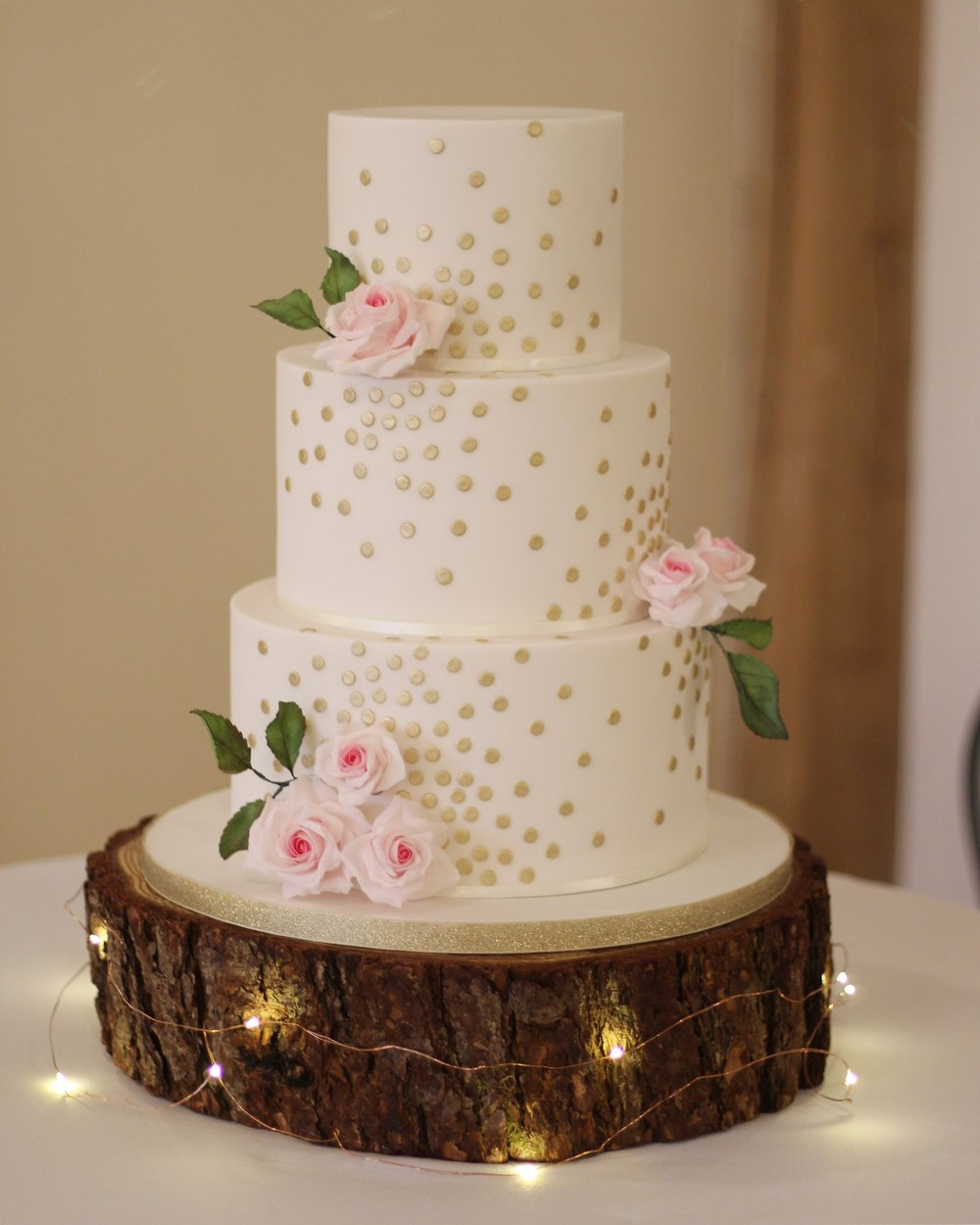 Gold Polka Dot Rose Cake
