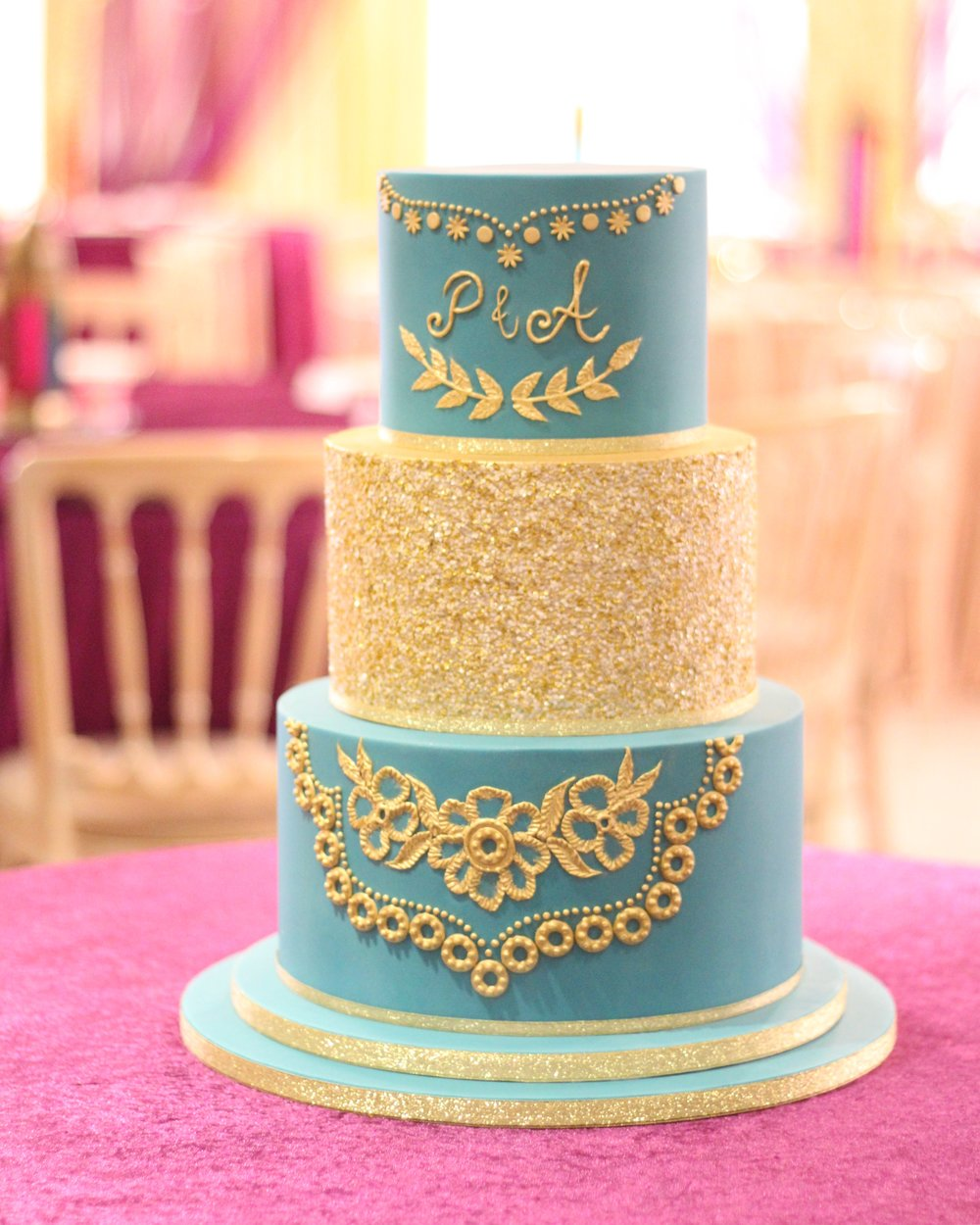Teal & Gold Bohemian Nights Wedding Cake