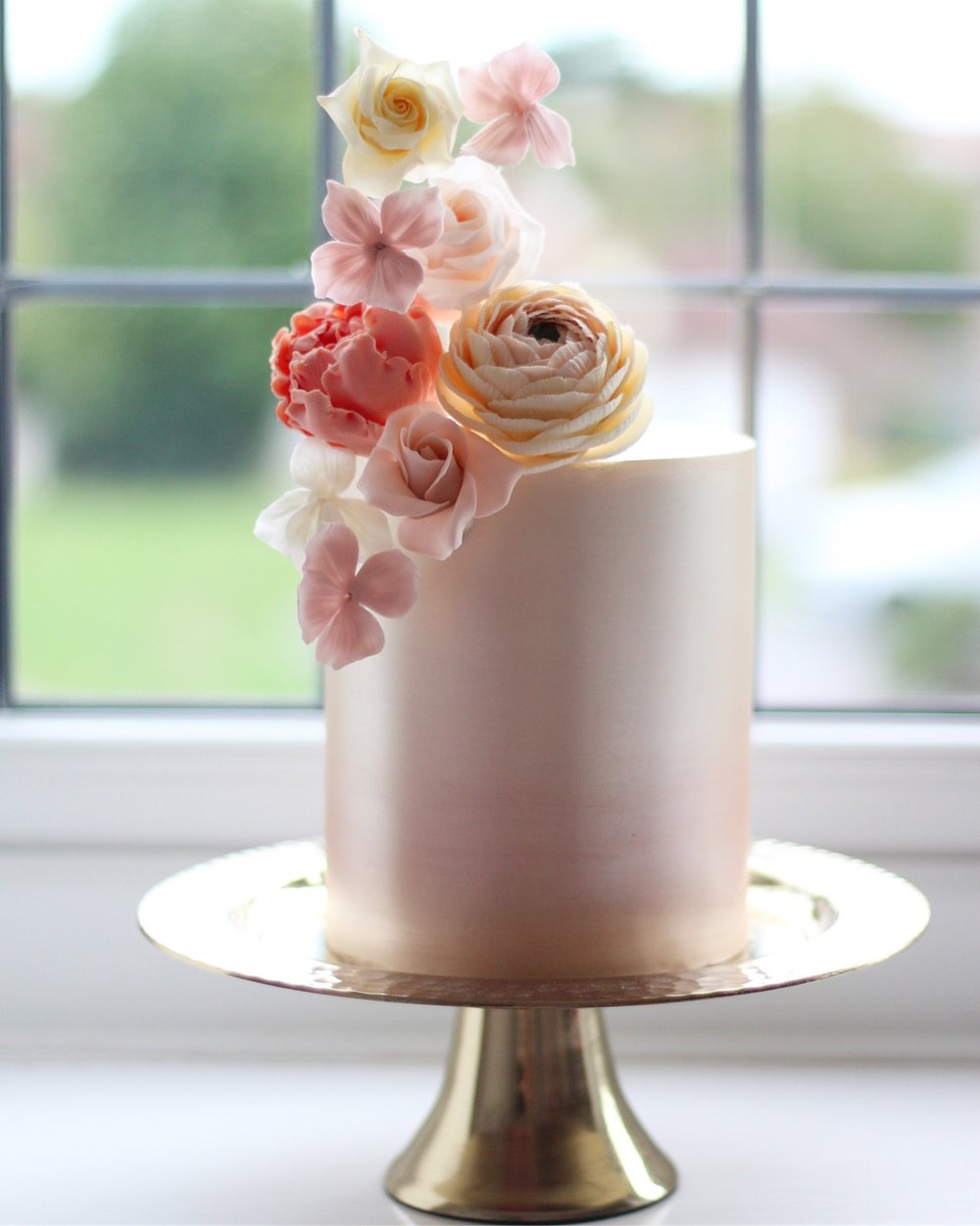 Metallic Blush Ombre & Sugar Flower Birthday Cake