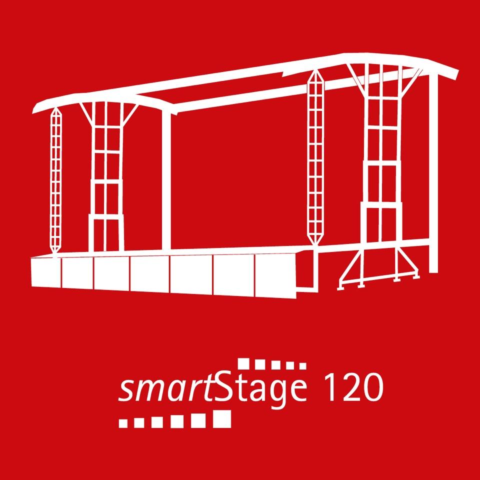smartStage 120 - 110 qm Bühnenfläche12.30 m Breite9.00 m Tiefe9.65 m Höhe