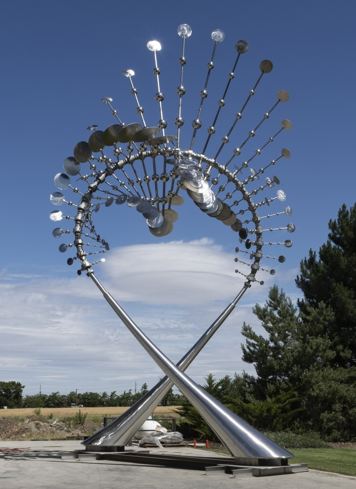 A new kinetic sculpture, Looped, powered by the wind, 35 feet high and fabricated by the walla walla Foundry, is headed to Qatar to be installed this fall....more as this develops -