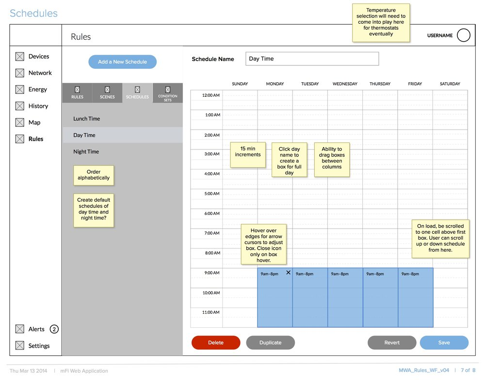 Rule Schedule Wireframe