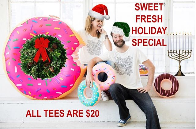 holiday orders are being sent out all over the us [👚📬✨] shop the sweet fresh holiday special today —   ALL TEES ARE $20 [🎄🍔❄️🍩🎁 #linkinbio #sweetteebyav ]