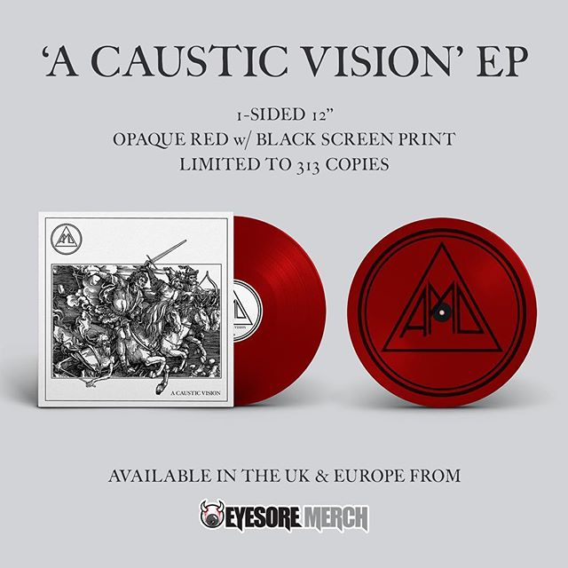 ATTN UK + EU friends: @eyesoremerch has a few remaining copies of our #acausticvision EP on opaque red w/ black screenprint. 313 copies pressed in this colorway, and only available overseas on our last European tour. Act quick before they're gone - tinyurl.com/APMD_ACV_RED - #allpigsmustdie #apmd #vinyl