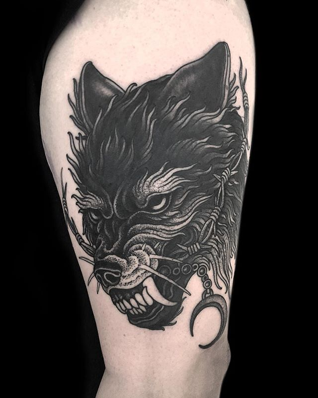 APMD inspired black wolf tattoo by @timbeijsens 🤘🏿👹🔥 • #allpigsmustdie #apmd #blackwolftattoo #hungrywolfeasyprey #southernlord #nonbeliever