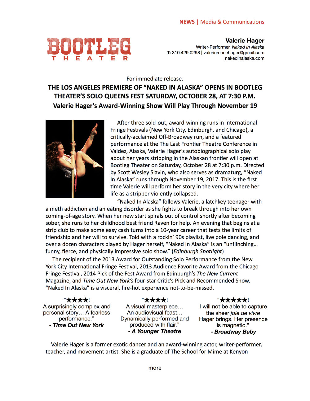 Click image above to view or download  Naked In Alaska's  Bootleg Theater press release