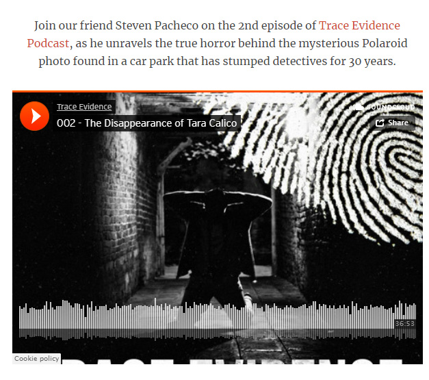 True Crime Magazine - True Crime Magazine listed Trace Evidence - Episode 002 - The Disappearance of Tara Calico in their article