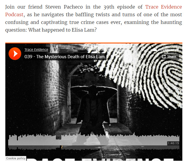 True Crime Magazine - True Crime Magazine discussed Trace Evidence - Episode 039 - The Mysterious Death of Elisa Lam in their article