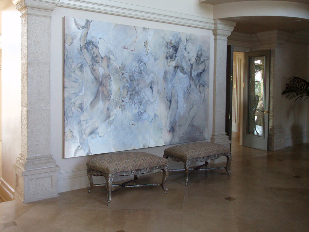 """I LOVED THIS PIECE OF ART & WANTED IT IN THE SPACIOUS NEW ENTRY HALL SO THE OWNERS & THEIR FRIENDS WOULD WANT TO DANCE WHEN THEY SAW IT."" Oregon Residence"