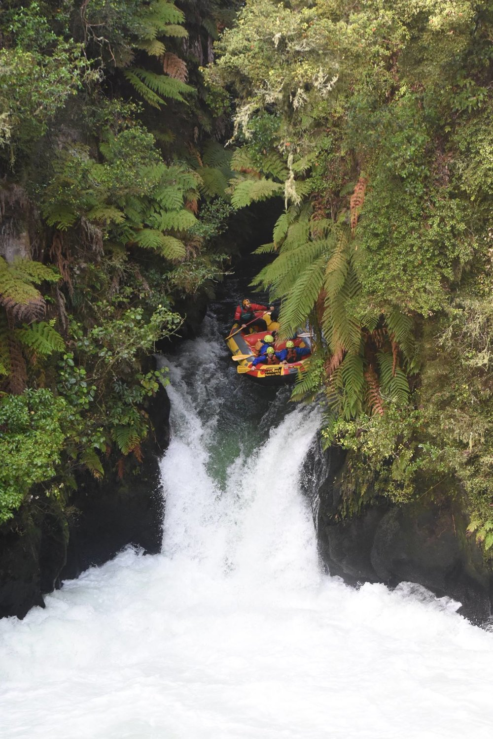 "Rafting the famous ""Tutea"" 7 meter waterfall. Photo courstesy of Kaituna Cascades"