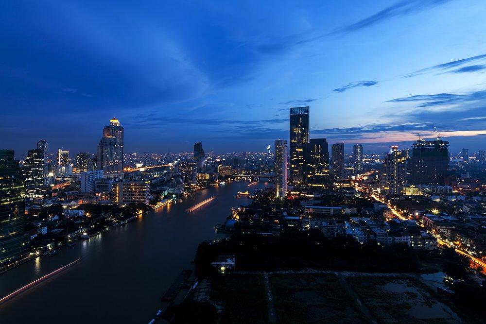 wellness bridge bangkok thailand city skyline