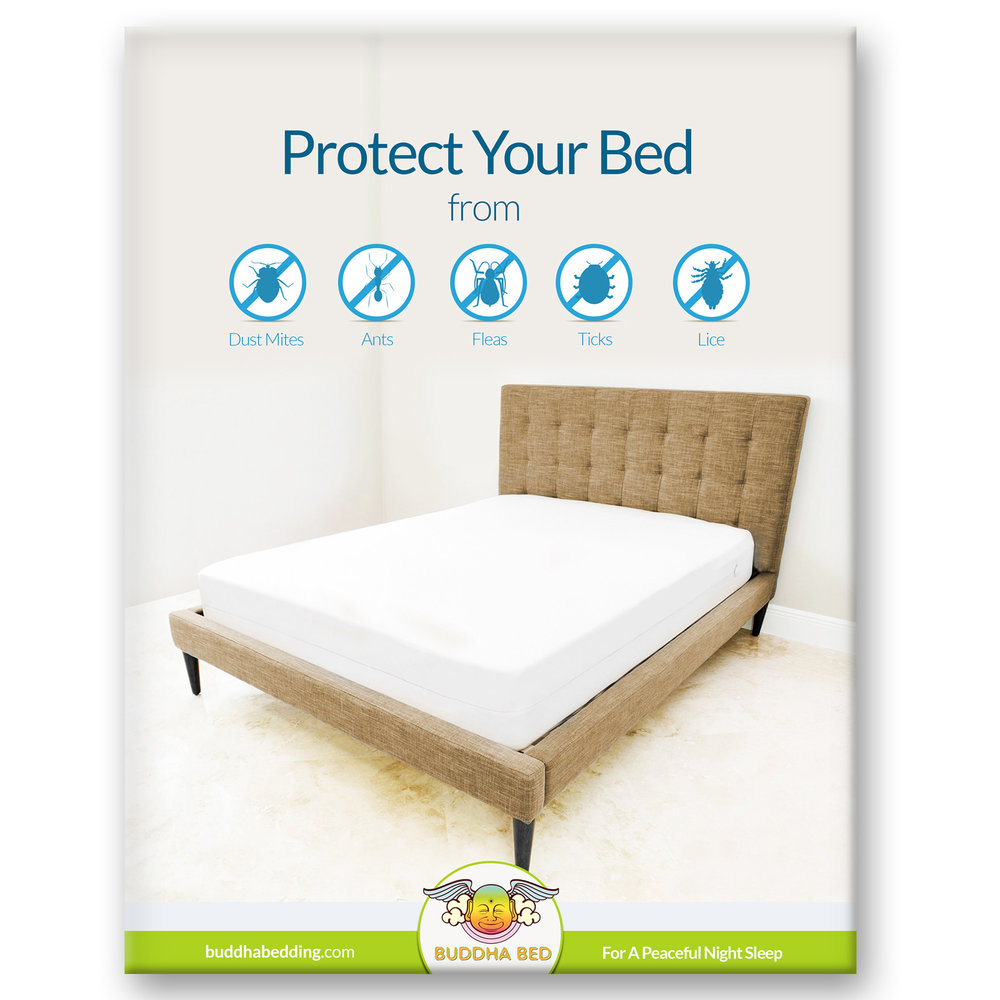 buddha bed mattress protector 100 waterproof blocks sweat stains urine protection from bed bugs mites and fleas fits on all mattresses