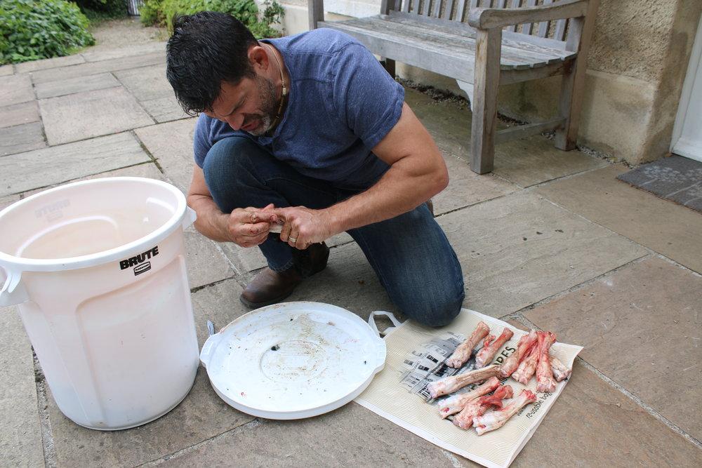Preparing hooves for gelatin