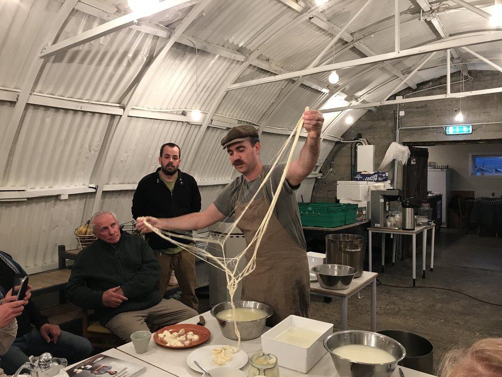 Shredding the pasta filata to make stracciatella