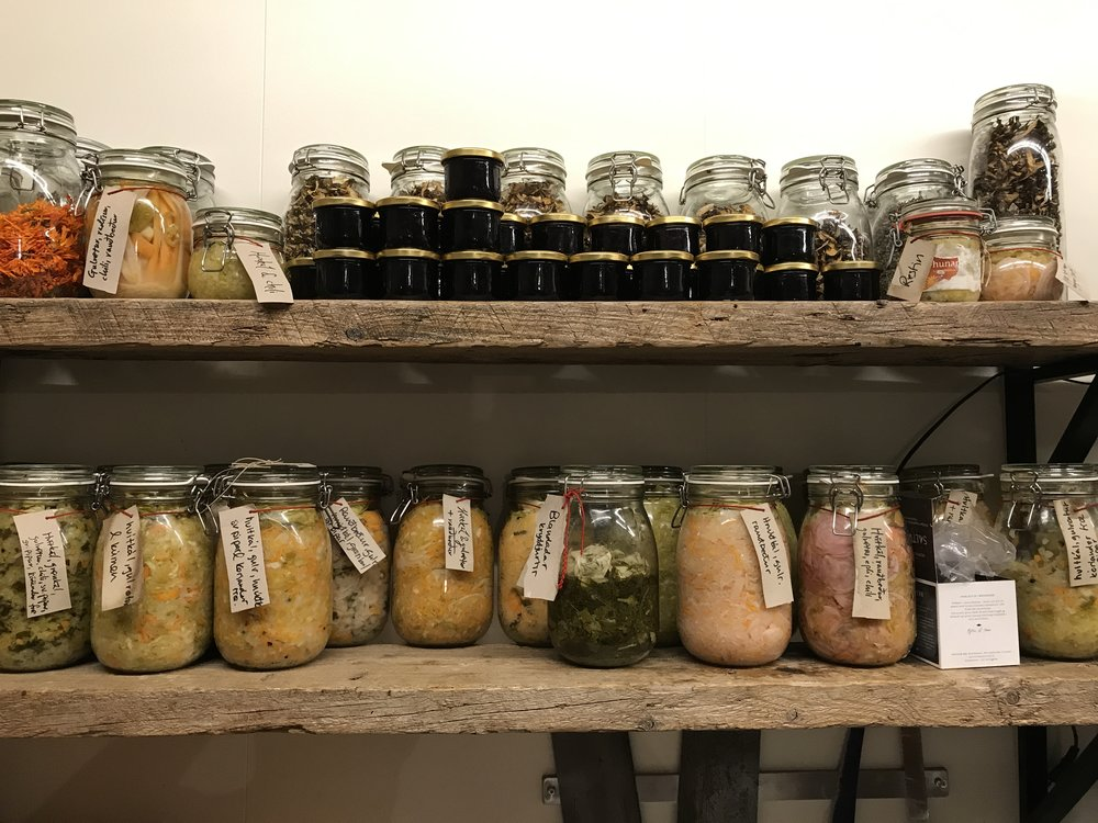 The larder at the workshop is full of amazing ferments