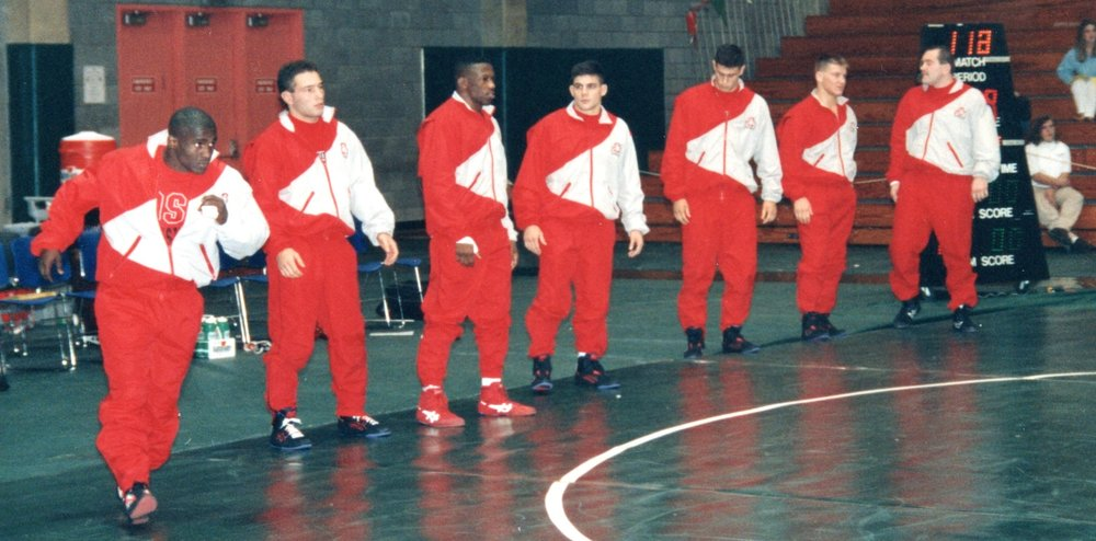 Ohio State Wrestling Team warming up. Bill Schindler is in the middle.