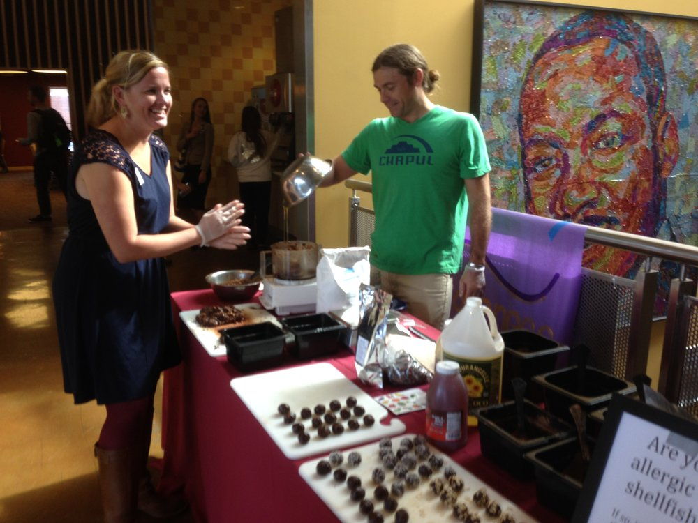 Pat Crowley  from  Chapul Bars  making cricket flour protein balls