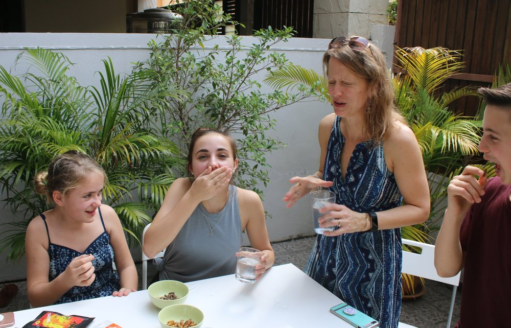 Despite years of trying, insects still aren't Christina's favorite, but she tries them all and so do the kids!  Here they are in Thailand at Massimo's house tasting some (February 2018).