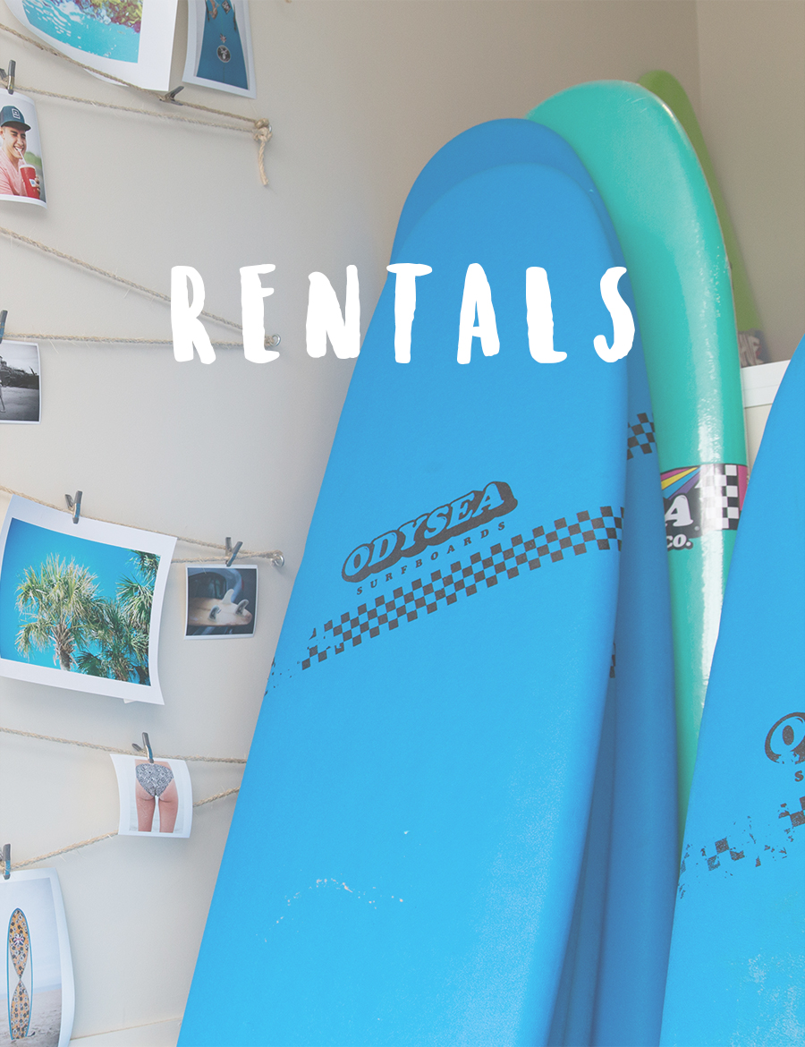 We offer awesome hourly and daily rental surf and paddle equipment! We got your wax and leash covered! Call or email to book your board!