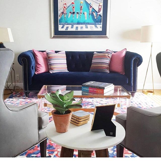 My favorite navy blue velvet couch that made me even more a believer in the saying- NO RISK NO Reward! #beachbungalowdesigns #interior123 #lajolla #livingroom #katespade #design #instagood #myhousebeautiful #luluandgeorgia #custom #remodel #robertallen