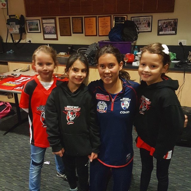 Our three U9 panther superstars Grace, Allara & Mila pictured with @westernbulldogs young gun @libby_birch at Saturdays Presentation night! #girlpower #gopanthers #familyclub 🔴⚪️⚫️