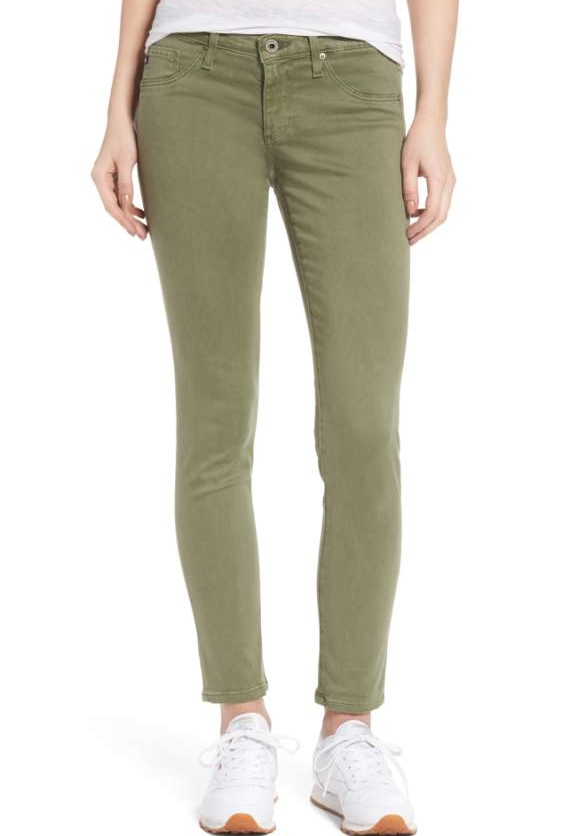Olive Green Pant - Olive Green is one of my favorite fall colors. Combine it with a pant for a bold look. These AG Skinny Jeans do just the trick.