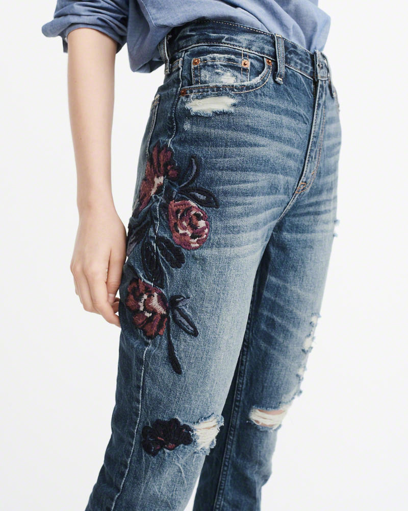 EMBROIDERED HIGH-RISE GIRLFRIEND JEANS