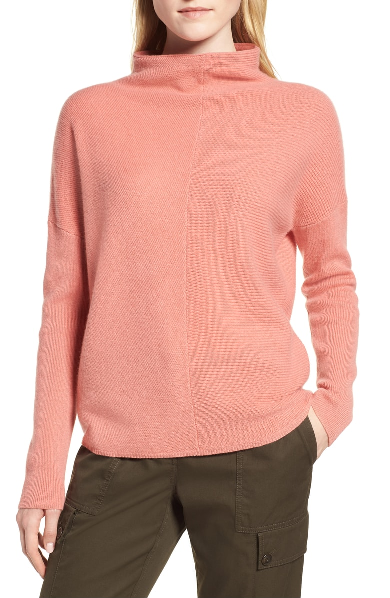 Nordstrom Signature Cashmere Directional Rib Mock Neck Sweater, Sale: $199 // Post Sale: $299