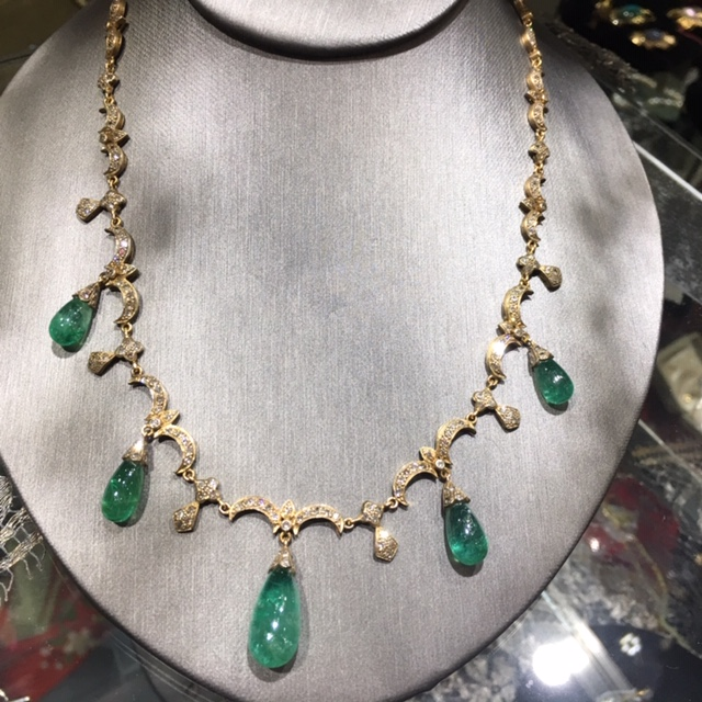 Fit for a queen. Elegant, delicate and movement captured in gold, diamonds and emeralds. Beautiful 19th century necklace created in celebratory times, and thankful there are many of those.  RY Original Collection. Price Group C.